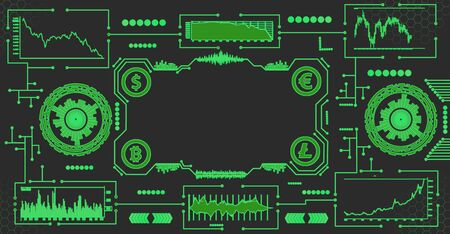 Abstract futuristic dashboard with currency charts on a dark background. Currency management concept.