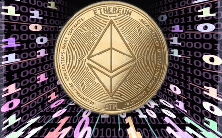Ethereum cryptocurrency gold coin against the background of a binary code in the form of energies. Zdjęcie Seryjne