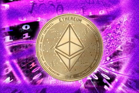 Ethereum cryptocurrency gold coin against the background of a binary code in the form of energies. Фото со стока