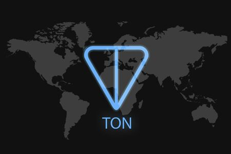 TON icon on a black background. Cryptocurrency telegrams open network.
