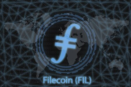 Filecoin (FIL) Abstract Cryptocurrency. With a dark background and a world map. Graphic concept for your design.
