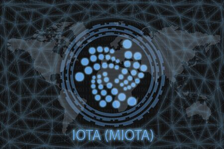 IOTA (MIOTA) Abstract Cryptocurrency. With a dark background and a world map. Graphic concept for your design.