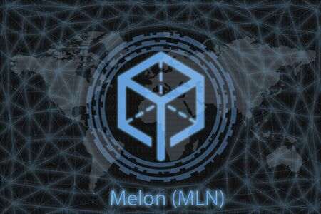 Melon (MLN) Abstract Cryptocurrency. With a dark background and a world map. Graphic concept for your design. Stok Fotoğraf