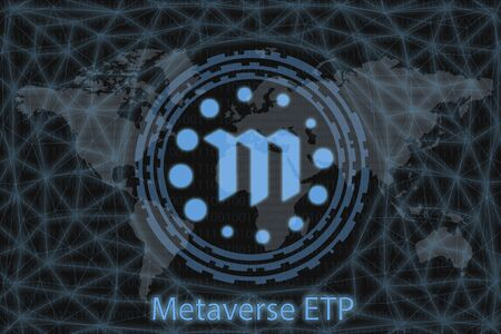 Metaverse ETP Abstract Cryptocurrency. With a dark background and a world map. Graphic concept for your design. Stok Fotoğraf