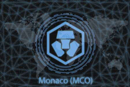 Monaco (MCO) Abstract Cryptocurrency. With a dark background and a world map. Graphic concept for your design. Stok Fotoğraf