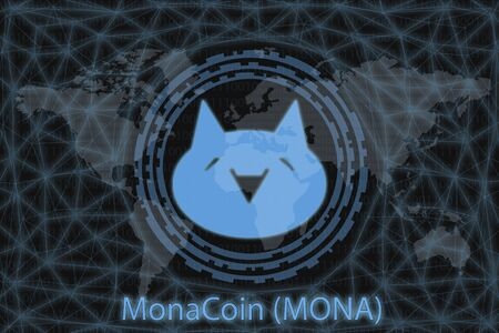 MonaCoin (MONA) Abstract Cryptocurrency. With a dark background and a world map. Graphic concept for your design. Banco de Imagens