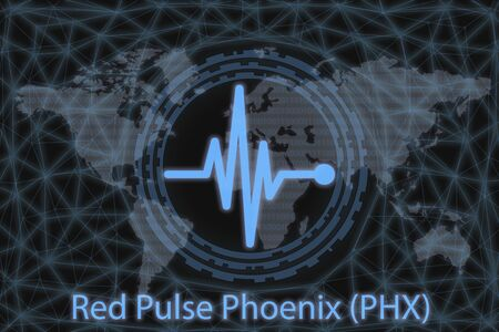 Red Pulse Phoenix (PHX) Abstract Cryptocurrency. With a dark background and a world map. Graphic concept for your design.
