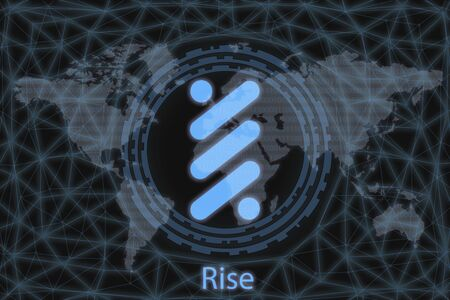 Rise Abstract Cryptocurrency. With a dark background and a world map. Graphic concept for your design.