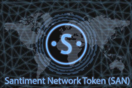 Santiment Network Token (SAN) Abstract Cryptocurrency. With a dark background and a world map. Graphic concept for your design.