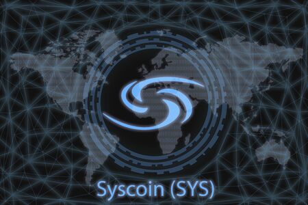 Syscoin (SYS) Abstract Cryptocurrency. With a dark background and a world map. Graphic concept for your design. 写真素材