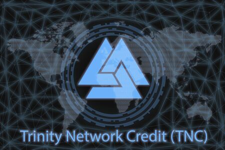 Trinity Network Credit (TNC) Abstract Cryptocurrency. With a dark background and a world map. Graphic concept for your design.