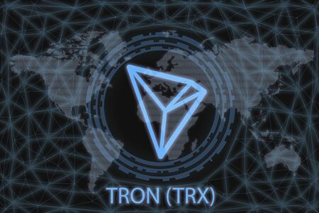 TRON (TRX) Abstract Cryptocurrency. With a dark background and a world map. Graphic concept for your design.