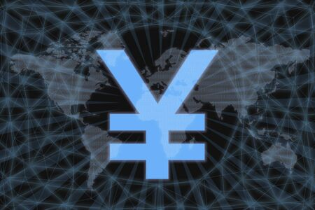 Yen JPY Abstract Cryptocurrency. With a dark background and a world map. Graphic concept for your design.