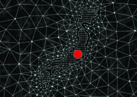 Map of Japan silhouette made of binary code, on a black background with digital blockchain grid and bitcoin signs. Japan Digital Currency Concept. Stock Photo