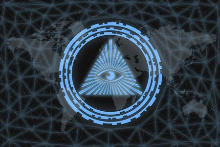 Illuminati symbol, on black background with world map and network. The concept of a world conspiracy.
