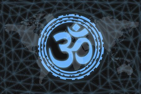 Om symbol, on black background with world map and network. World religion concept. Zdjęcie Seryjne