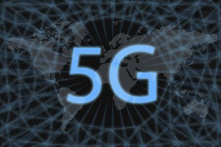 5G Neon Icon, With dark background and world map. Graphic concept for your design.