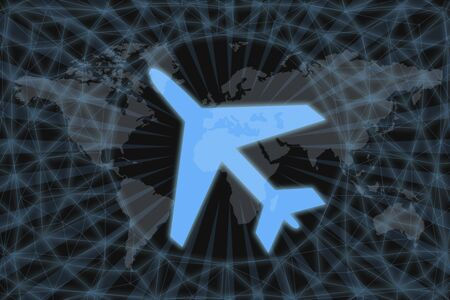 Neon Aircraft Icon, With dark background and world map. Graphic concept for your design. Фото со стока - 133698612