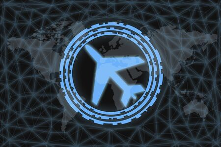 Neon Aircraft Icon, With dark background and world map. Graphic concept for your design.