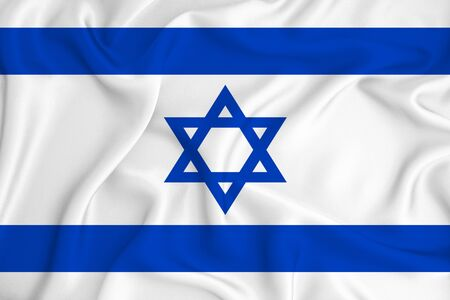 Israel flag on the background texture. Concept for designer solutions. Zdjęcie Seryjne