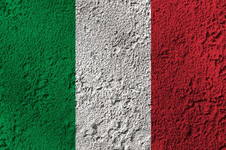Italy flag on the background texture. Concept for designer solutions.