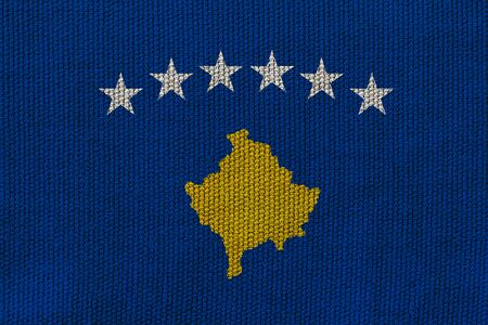 kosovo flag on the background texture. Concept for designer solutions.