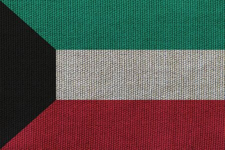 kuwait flag on the background texture. Concept for designer solutions.