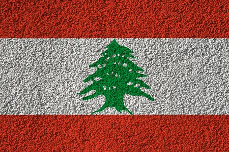 Lebanon flag on the background texture. Concept for designer solutions. Stock Photo