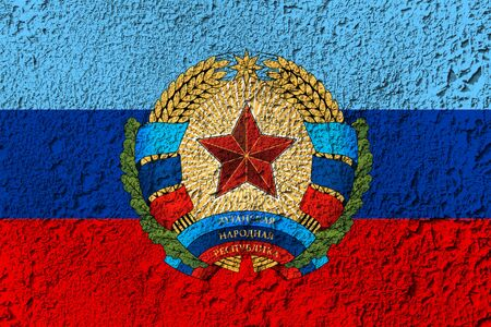 Lugansk Peoples Republic flag on the background texture. Concept for designer solutions.