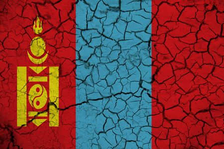 mongolia flag on the background texture. Concept for designer solutions.