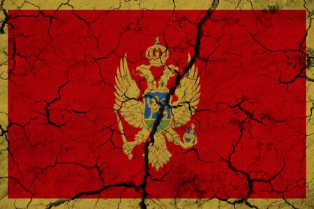 Montenegro flag on the background texture. Concept for designer solutions.