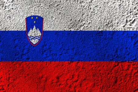 Slovenia flag on the background texture. Concept for designer solutions.