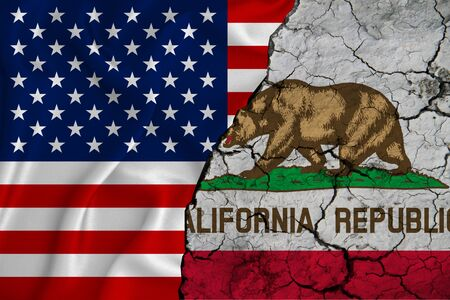 United States flag weaving texture with flag of California on cracked ground, concept of state drought.