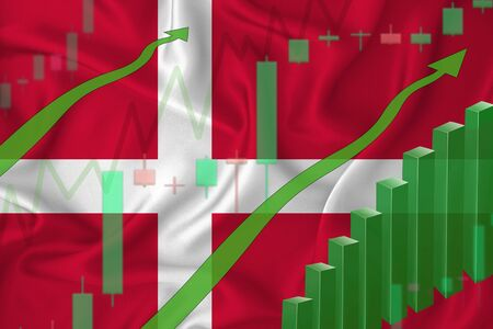 Rising against the background of the flag of Denmark and rising prices for the currency of the country. Rising stock prices of companies and cryptocurrencies.