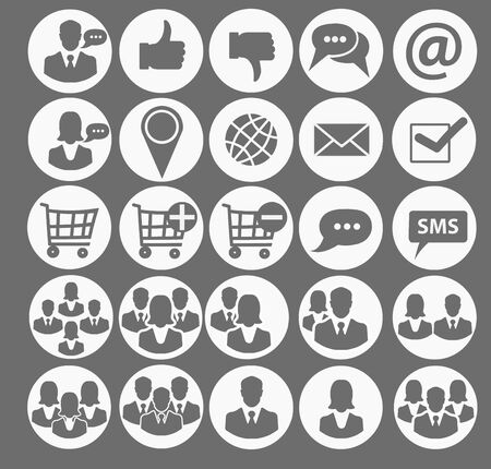 Set of icons in a modern business style. Simple organizational icons on a gray background. Icons for design, website, applications, social networks and mobile applications.