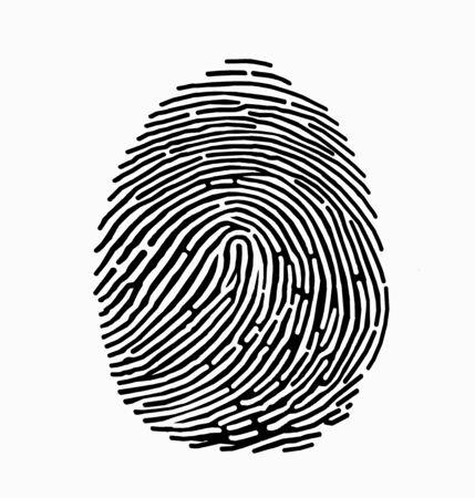 Black fingerprint on white background. Fingerprint icon. Identification.
