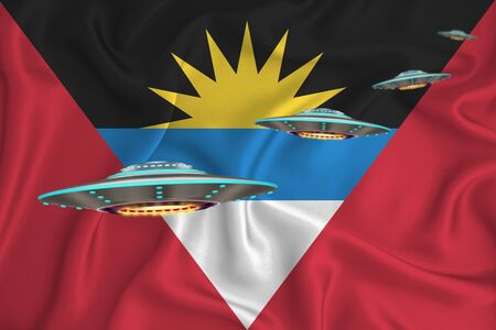 Waving flag of antigua and barbuda. UFO group on the background of the flag. UFO news concept in the country. 3D rendering Banco de Imagens