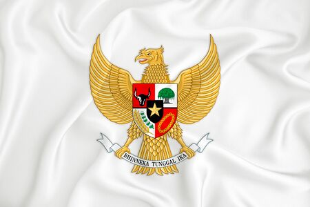 A developing white flag with the coat of arms of Indonesia Garuda Pancasila. Country symbol. Illustration. Original and simple coat of arms in official colors and the right proportion Фото со стока