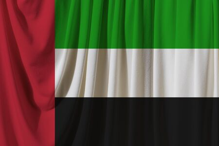 United Arab Emirates flag on the background texture. Concept for designer solutions.