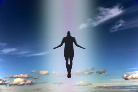 The dark silhouette of the soul of a deceased person ascends to heaven against a background of clouds. Afterlife, the concept of the immortality of the soul. 3D rendering