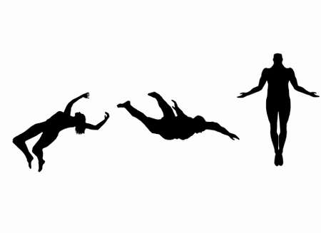 silhouette of people in fall, illustration of an ascension of a man. black and white. Foto de archivo
