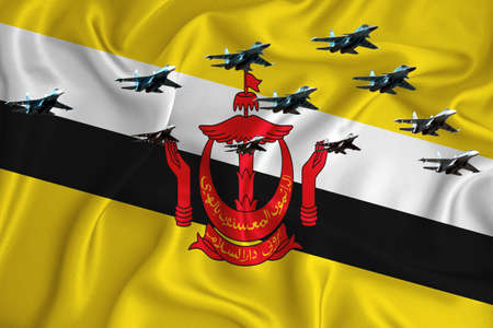 Brunei flag, background with space for your logo - military 3D illustration. Air parade, military air show, air parade of military aviation. 3D rendering