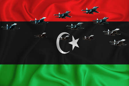 Libya flag, background with space for your logo - military 3D illustration. Air parade, military air show, air parade of military aviation. 3D rendering Stok Fotoğraf