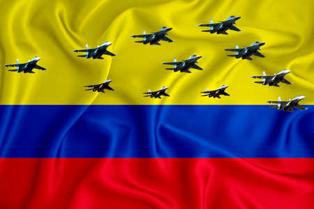 colombia flag, background with space for your logo - military 3D illustration. Air parade, military air show, air parade of military aviation. 3D rendering