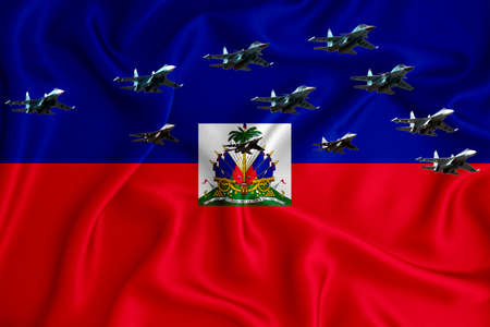 haiti flag, background with space for your logo - military 3D illustration. Air parade, military air show, air parade of military aviation. 3D rendering