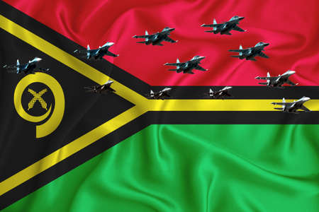 vanuatu flag, background with space for your logo - military 3D illustration. Air parade, military air show, air parade of military aviation. 3D rendering