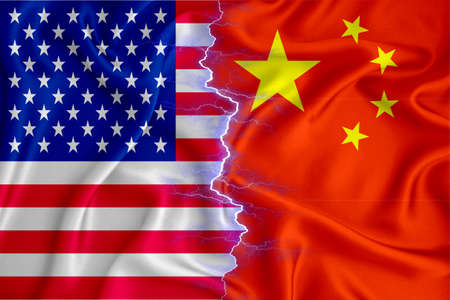 china and US flag on zipper crossed textured fabric. The concept of cooperation between the two countries. 3d rendering