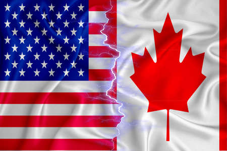 canada and US flag on zipper crossed textured fabric. The concept of cooperation between the two countries. 3d rendering