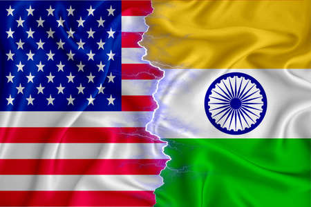 India and US flag on zipper crossed textured fabric. The concept of cooperation between the two countries. 3d rendering