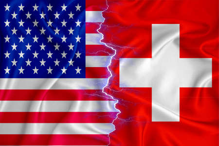 Switzerland and US flag on zipper crossed textured fabric. The concept of cooperation between the two countries. 3d rendering